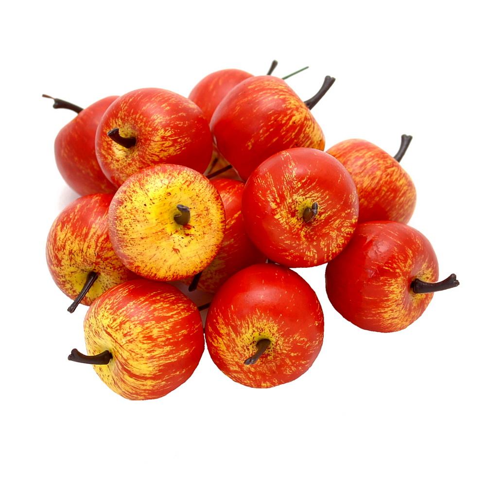 12 x Deko Äpfel klein 3,5cm, gelb/rot/orange matt, künstlich, Früchte