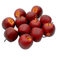 12 x Deko Äpfel groß Ø 5,5cm, d.-rot/gelb matt künstlich Apfel Früchte