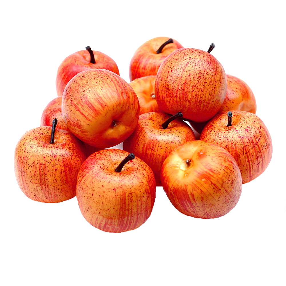 12 x Deko Äpfel groß Ø5,5cm, gelb/rot matt künstlich, Früchte, Apfel !