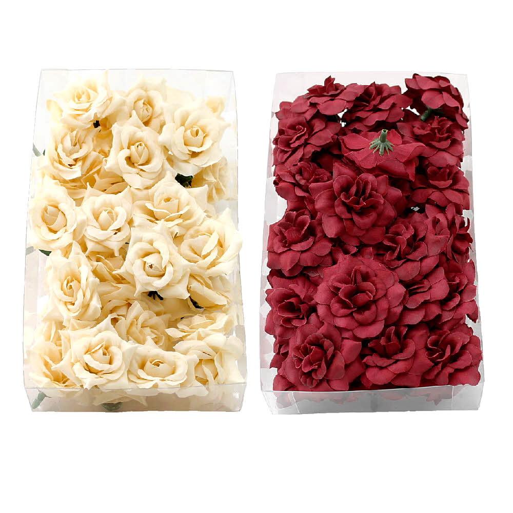 36 Rosen Köpfe Seide, Ø4,5cm, Bastel- Streublüten in Sparbox !!!