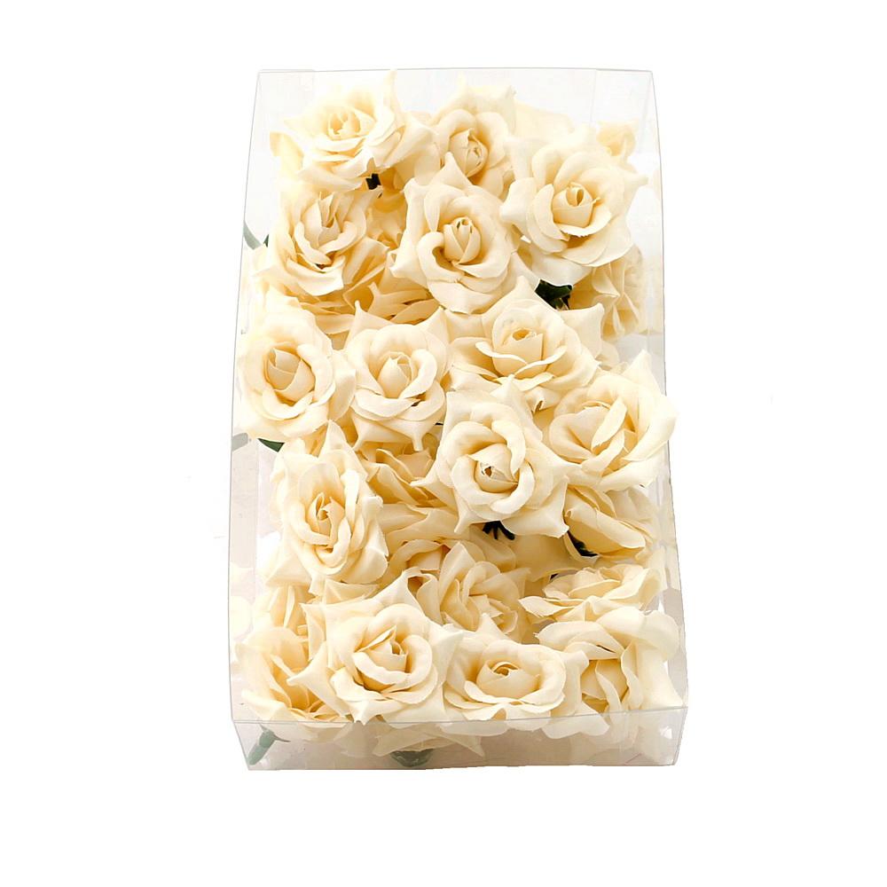 36 Rosen Köpfe Seide, Ø4,5cm, Bastel- Streublüten in Sparbox !!! creme