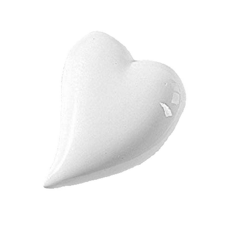 12x Porzellanherzen geschwungen, weiß glänzend L6cm x 5cm Keramik Herz