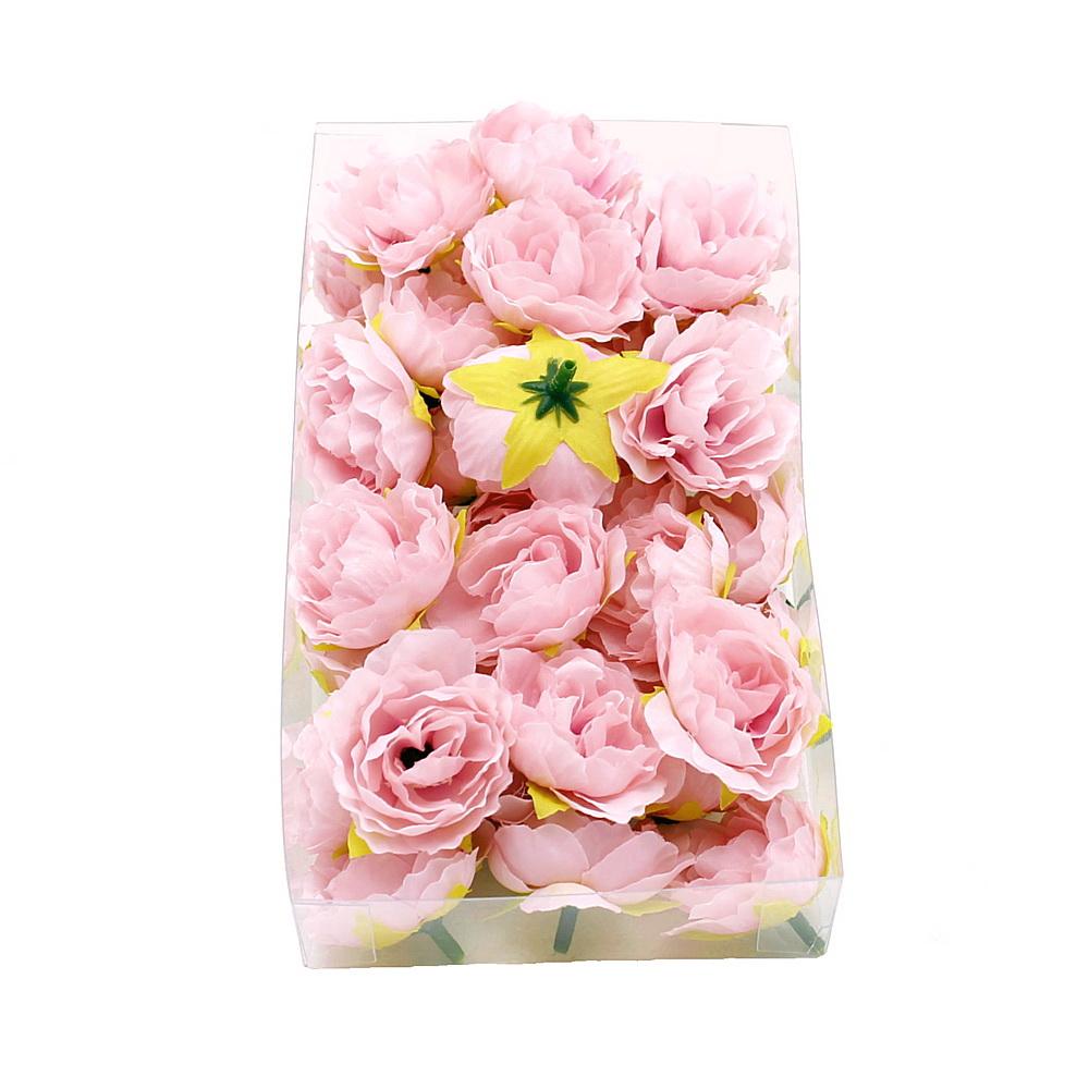 36 Kamelie Köpfe h.-rosa, Seide Ø3,5cm, Bastel- Streublüten in Box !!!