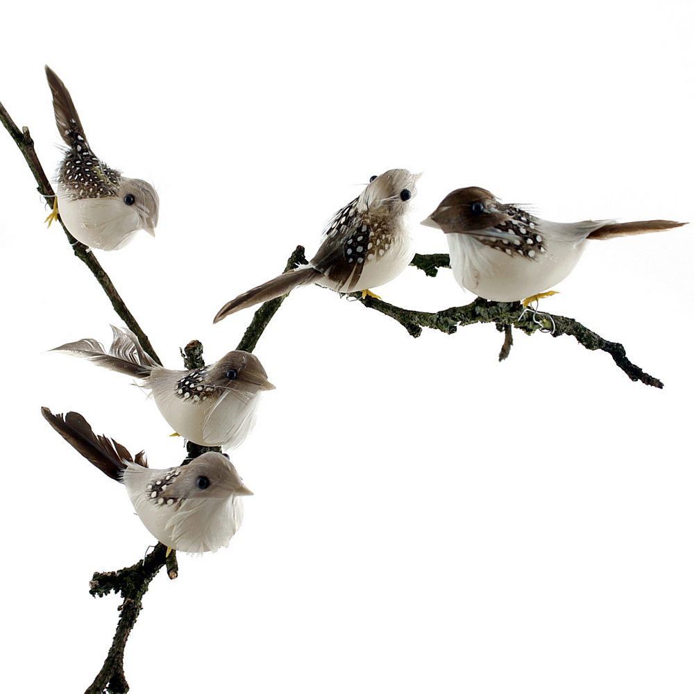 12x Deko Vögel grau 9cm, mit kurzem Draht, 9cm m. Federn, Sortiment !!