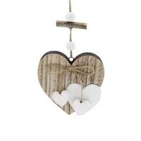 Hänge-Herz Holz, Herz in Herz, natur/weiß, Schleife u. 2 kleine Herzen