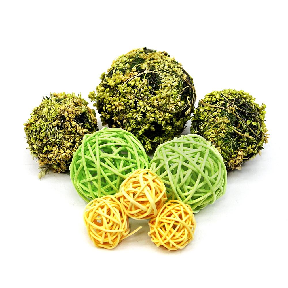 Deco Mix Kugel Sortiment 8 St. Rattan+Hirsekugeln, 4 Größen/ grün/gelb