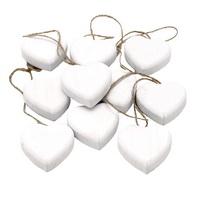 10 x Holz Herz dick zum Hängen, weiß 5cm x1,5cm, mit Jutekordel !!!