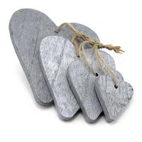 Hänge-Herz Holz x4 Größen, grau/silber m. Kordel, Breite 11/9/6,5/4,5cm !!!