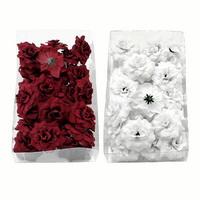 24 Rosen Köpfe Samteffekt, Ø4,5cm Seide, Bastel- Streublüten in Box