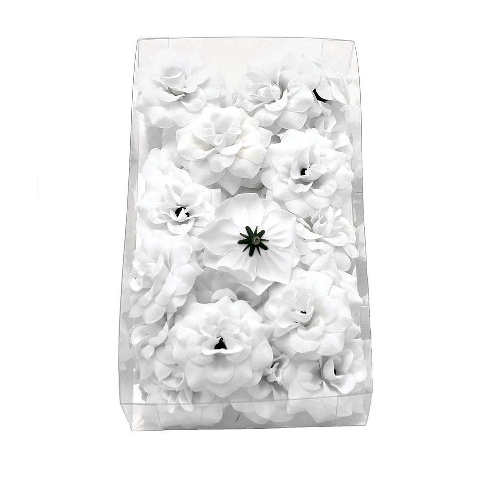 24 Rosen Köpfe Samteffekt, Ø4,5cm Seide, Bastel- Streublüten, Box weiß
