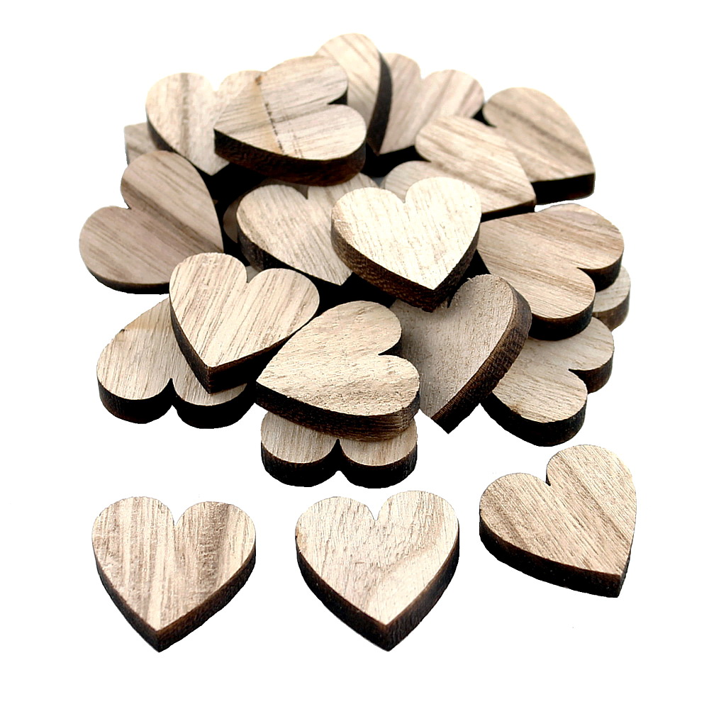 24x Streuartikel Holz, Herz 3cm x 3cm dick 0,6cm /// natur