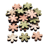 24x Streuartikel Holz, Blüte Ø 3cm dick 0,6cm/ natur+grün+rosa