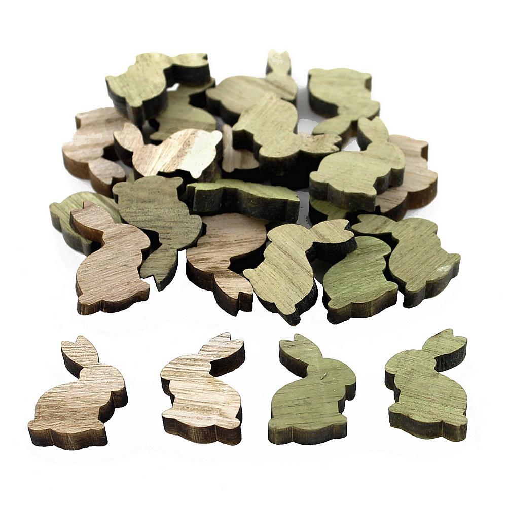 24x Streuartikel Holz, Hase 3,0cm x 2,5cm, dick 0,6cm !!! natur+grün