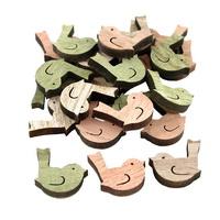 24x Streuartikel Holz, Vogel 3,5cm x 2,0cm dick 0,6cm/ natur+grün+rosa
