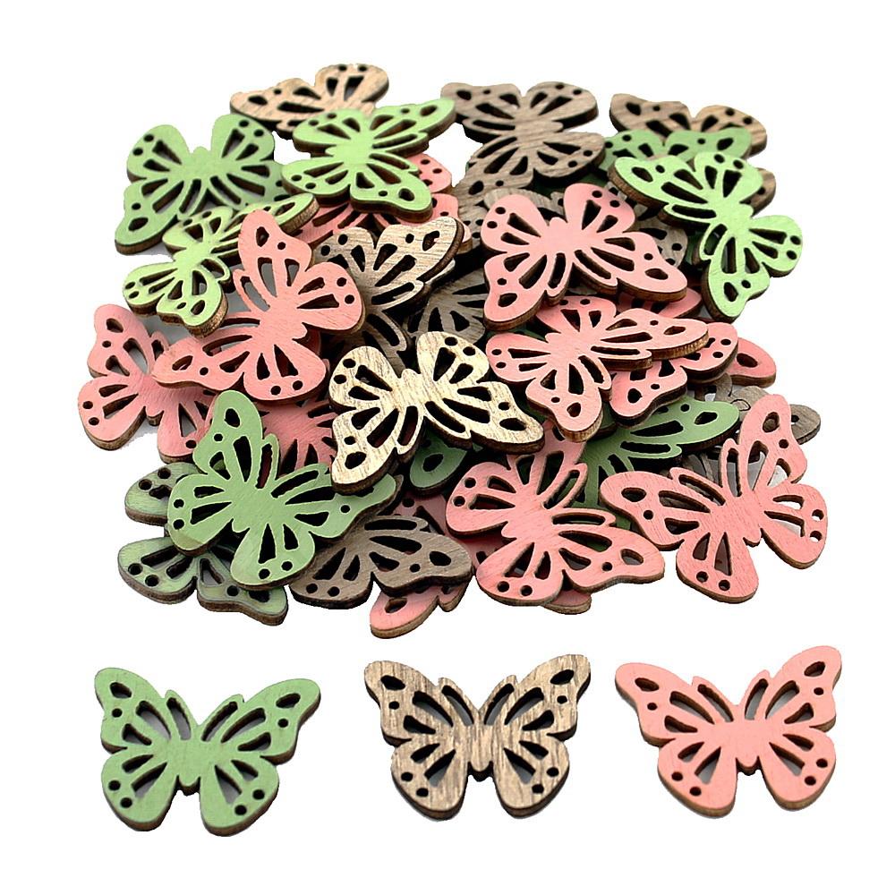 24x Streuartikel Holz Schmetterling 3,5cm x 3cm D 2mm/ natur+grün+rosa
