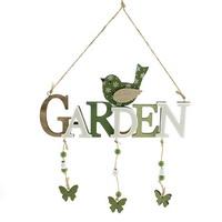 """Hänger Holzschild """"GARDEN"""" mit Vogel, 22cm/ grün-natur !!!"""