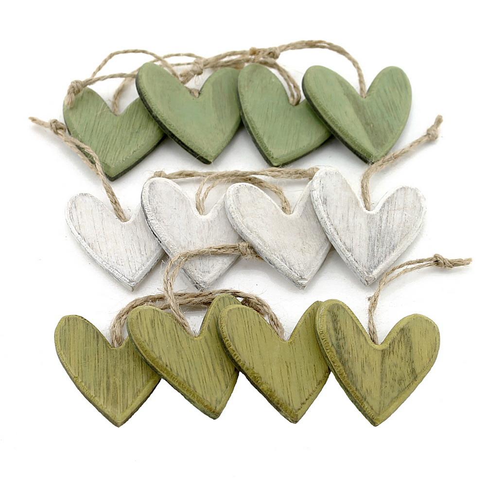 12x Hänge-Herz Sortiment Holz, 3 Farben 7mm flach !!! oliv/grün/natur