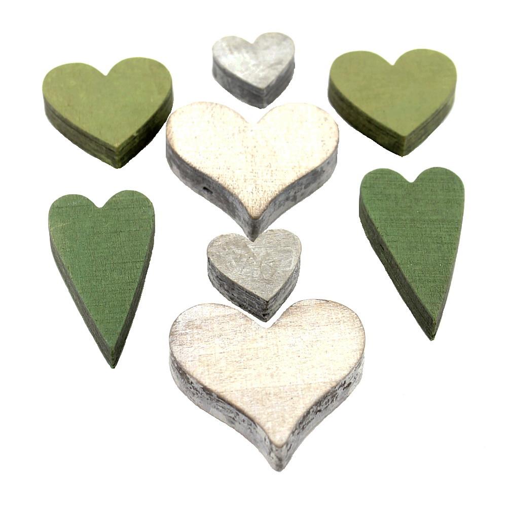 8x Streu-Deko-Herz Sortiment 4 Größen dick 11,5mm Holz oliv/grün/natur