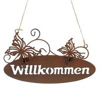 """Hänger Metallschild """"Willkommen"""" mit Schmetterlinge, 25cm / Rostlook !"""