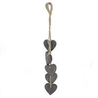 3x Holz- Herz- Hänger grau, 5 Herzen mit Kordel Länge 35cm !!!