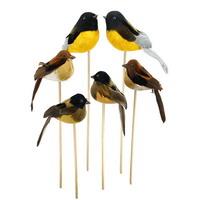 6x Deko Vögel natur, bunt gemischt, Stecker, 11cm + 9cm mit Federn !!!