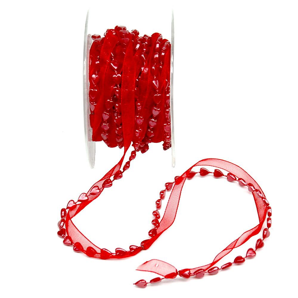 Herzband 2fach in rot, Organza m. Herz- Schnur, -Kette, 5 Meter Rolle