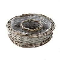 Pflanzring klein Ø 20cm H6cm, Weide grau gewaschen mit Folie !!!